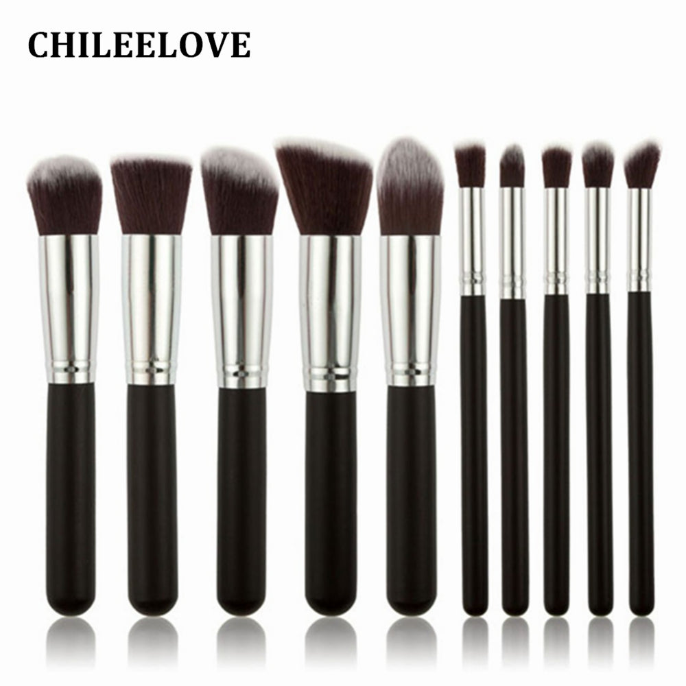 CHILEELOVE 10 Piece Pce/Set Base Cosmetics Makeover Makeup Brushes Kit For Women Foundation Blending Blush Powder Eyeshadow Tool