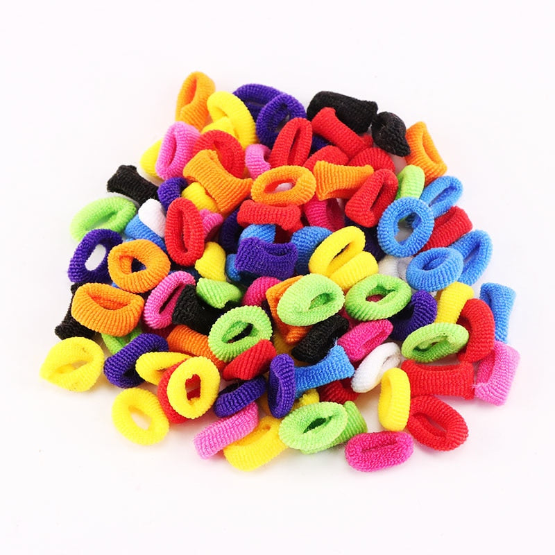 1Pack Small Ring Hair Bands Girls Colorful Elastic Hair Rope Tie Gums Kids Rubber Band Ponytail Holder Hair Accessories headwear
