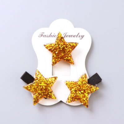 1Set=3PCS Children Headwear Acrylic Love Star Elastic Hair Band Safety Hair Clips Colorful Cute Girls Gift Kids Hair Accessories