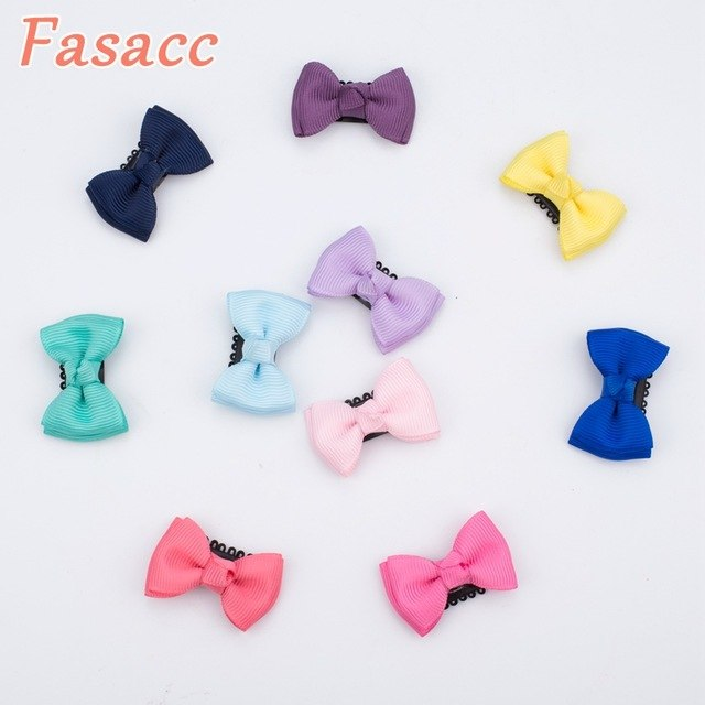 10Pcs/lot Sewing Solid Dot Infant Baby Small Ribbon Bow Hair Clip Boutique Hairpins For Children Girls Kids Hair Accessories A19
