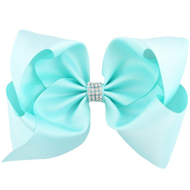 8 inch Rhinestone Big Large Grosgrain Ribbon Hair Bow Alligator