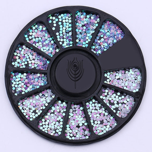 1 Box 1mm Mixed Color 3D Nail Art Decorations Colorful Round Wafer Nail Sequins In Wheel DIY Manicure Nail Art Accessories