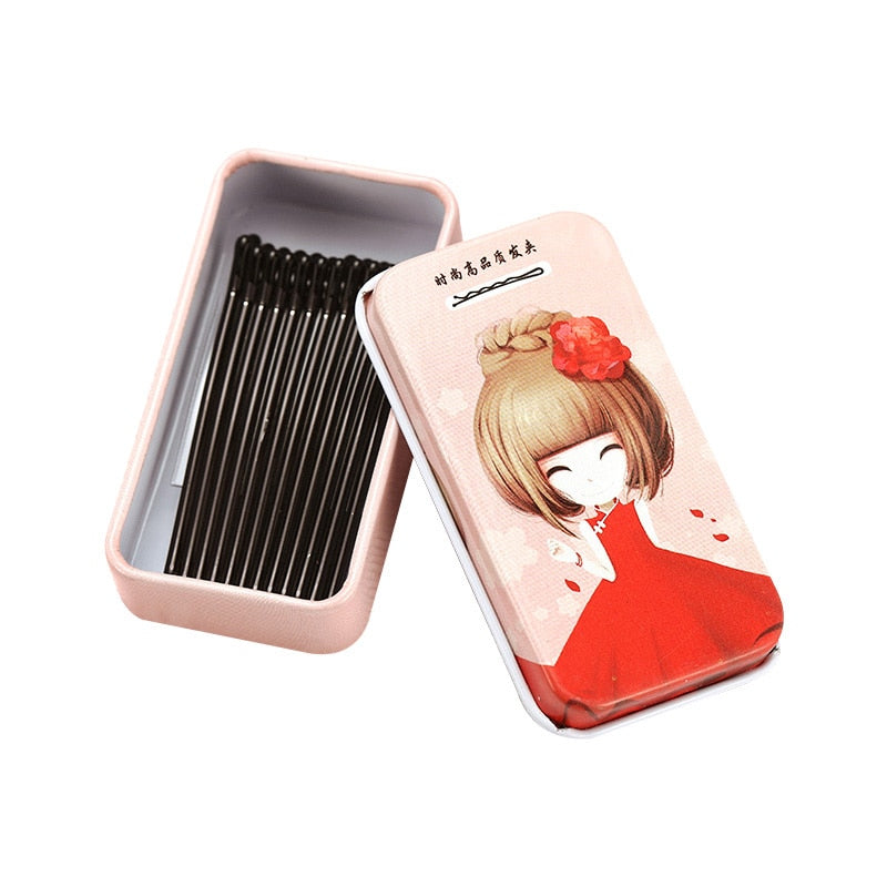 New 15PCS/Lot Cute Box Packed Crude Black Metal Barrettes For Women Hair Holder Basic Hair Clips Lady Hairpins Hair Accessories