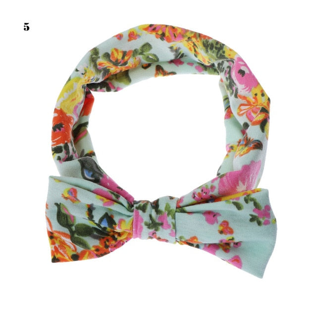 1 PC Vintage Aqua Floral Headband Children Girls Bow Knot Hairband Elastic Turban Headwrap Rabbit Ears Hair Accessories
