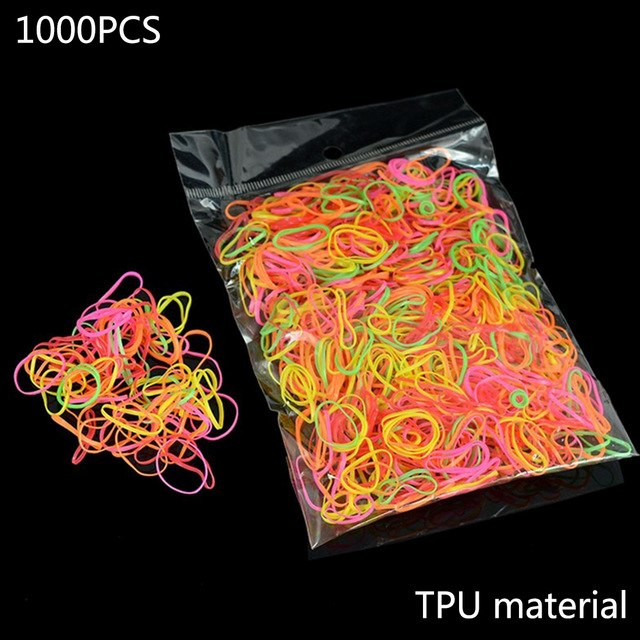 About 1000pcs/pack Rubber Hairband Rope Silicone Ponytail Holder Elastic TPU Hair Holder Tie Gum Rings Girls Hair Accessories