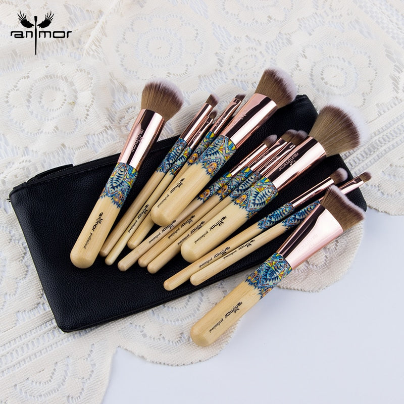 Anmor Make Up Brushes Professional Powder Duo Fibre Eyeshadow Makeup Tool Synthetic Makeup Brushes Set With Black Bag