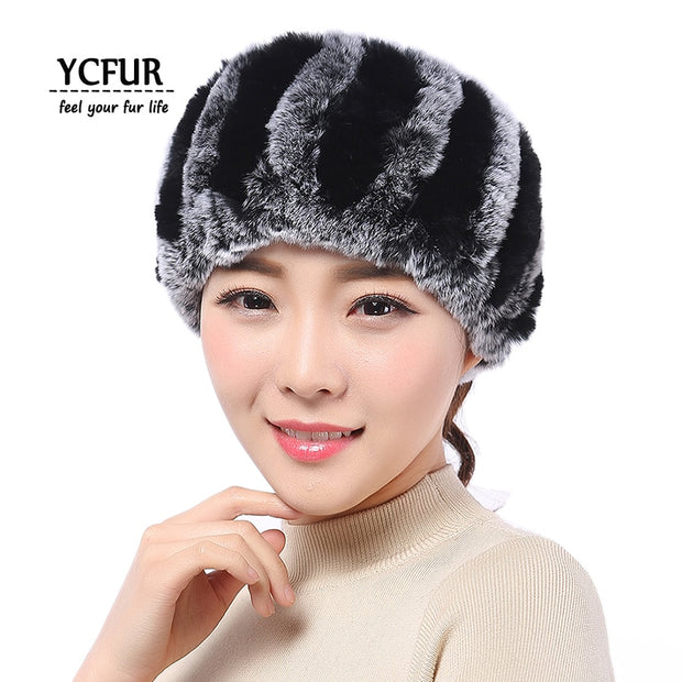 YCFUR Women Headband Winter Autumn Knit Natural Rex Rabbit Fur Headbands For Girls Real Fur Neck Scarf Hair band Ladies