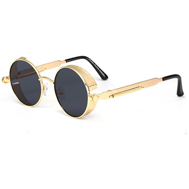 QIFENG Steampunk Goggles Sunglasses Men Women Brand Designer Vintage Round Sun Glasses For Retro UV400 Female Male Oculos QF025