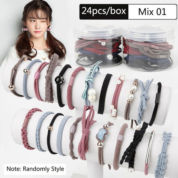 24pcs/box Pearl Rubber Elastic Haar Accesories Ribbon Bowknot Hair Ropes Korean Style Hair band for Women Girls Hair Ties