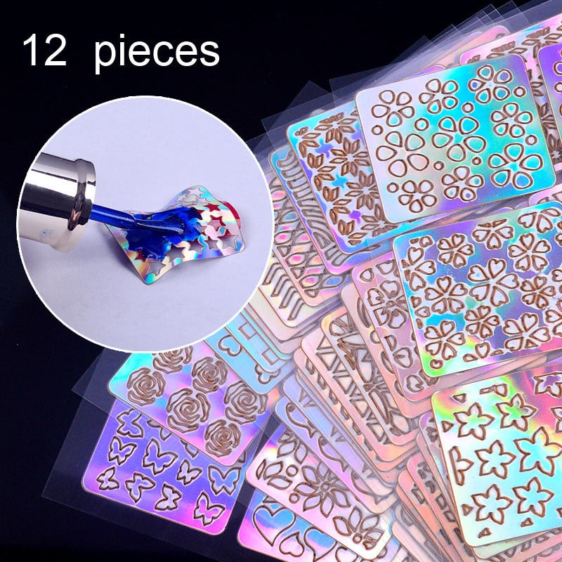 12 Sheets/Lot Laser Nail Vinyls Laser Irregular Grid Stencil Polish Transfer Manicure Tools Nail Art Stickers Stamping Template