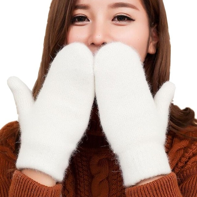 YSDNCHI Hot Sale Fashion Women Girl Winter Gloves Pure Color Rabbit Fur Mittens Soft Warm Candy Color Double Layer Female Gloves