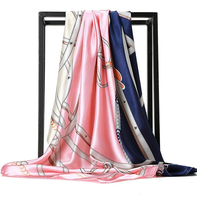 O CHUANG Silk Scarf Fashion Foulard Satin Shawl Scarfs Big Size 90*90cm Square silk Hair / Head Scarves Women bandana