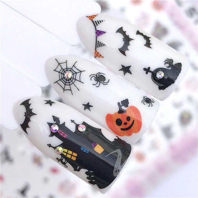 1 PC Christmas Gift Fall Autumn Sea Designs Nail Art Stickers 3D Adhesive Decoration Manicure Decor Decals Foils