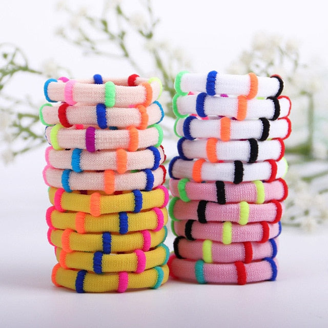 20PCS Candy Color Elastic Headband Hair Rope Rubber Bands Scrunchy Hair Accessories Gum for Girl Kid Ponytail