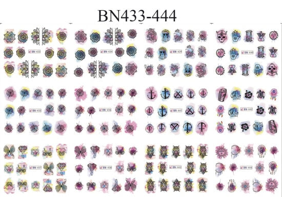 12 Designs Valentine Gift Sticker Couple/Maple Winter Flower Designs Nail Art Water Transfer Decals for Nails Tips Sticker BN