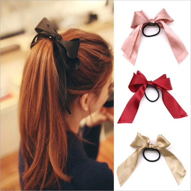 1pcs Women Rubber Bands Tiara Satin Ribbon Bow Hair Band Rope Scrunchie Ponytail Holder Gum for Hair Accessories Elastic