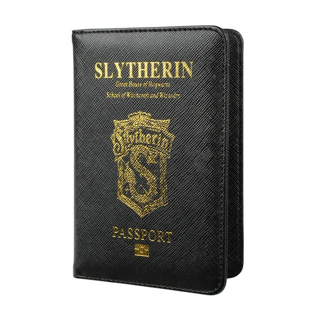 Harry Potter Hogwarts School Passport Cover Rfid Black Pu Leather Cards Passport Holder Wallet Luxury Travel Pouch Passport Case