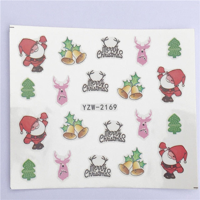 1 Sheet Nail Art Nail Sticker New Year Slider Tattoo Christmas Water Decal Santa Claus Snowman Full Wraps Designs DIY Decals