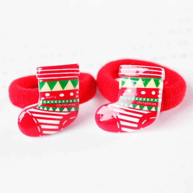 2PCS/ Pairs Of Fashion Girls Lovely  Popular Christmas Hair Strings Snowman  Children's Elastic Hair Adornment