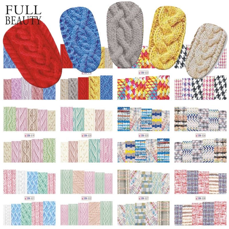 12pcs Winter Design Sweater Christmas Nail Sticker Sets Colorful Full Tips Wraps for Water Decals Women Nail Art Decor BN517-528