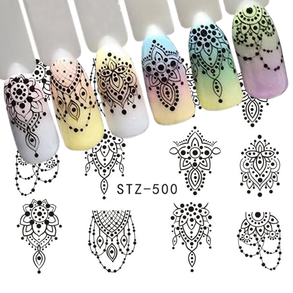 1 Sheet Black Necklace Jewelry Design Water Transfer Sticker Nail Art Decals DIY Fashion Wraps Tips Manicure Tools SASTZ500