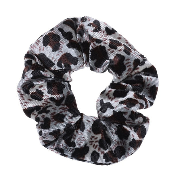 AWAYTR 2Pcs Soft Animal Leopard Velvet Hair Scrunchie Ponytail Loop Holder Stretchy Elastic Hair band for women Hair Accessories