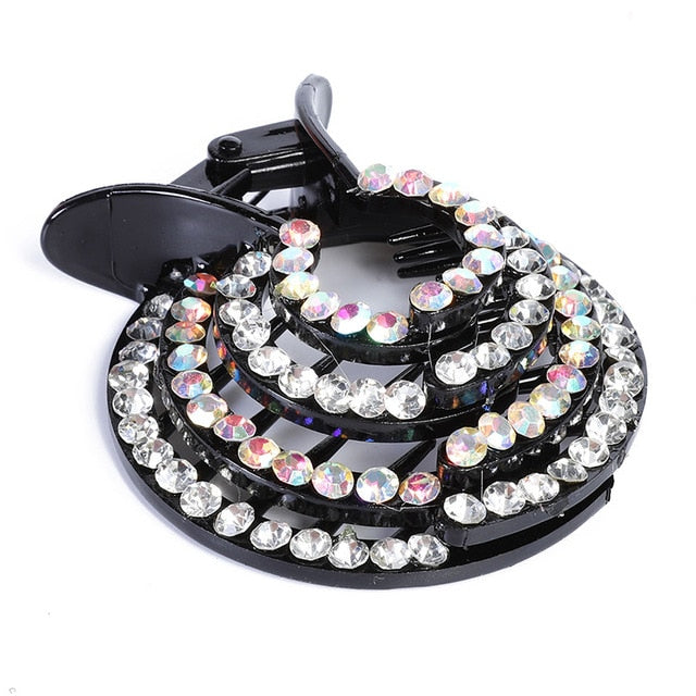 AWAYTR New Half-balloon Hair Clip Women Nest Expanding Rhinestone Hairpin Girls Fashion Hair Claws Hair Bun Holders Accessories