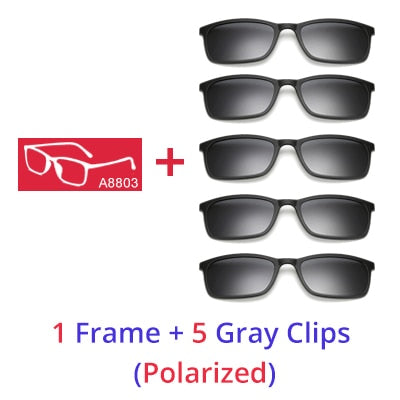 Ralferty Polarized Sunglasses Men Women 5 In 1 Magnetic Clip On Glasses TR90 Optical Prescription Eyewear Frames Eyeglass 8803