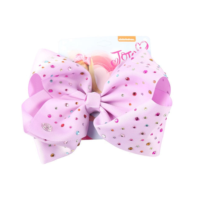"8"" Large JoJo Bow W Hair Clip For Girls Kids Handmade Metalic Printed Ribbon Knot Jumbo Hair Bow Hair Accessories"