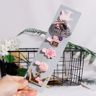 Fashion 5PCS/Pack Cartoon Crown Bow Girls Cute Hairpins Handmade Princess Barrettes Hair Clips Headbands Kids Hair Accessories