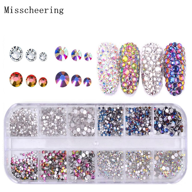 1 Pack Shiny Crystal Nail Art Rhinestone Decorations Mixed Size And Colors Flat-back Glass Gems For 3D Design Manicure Accessory