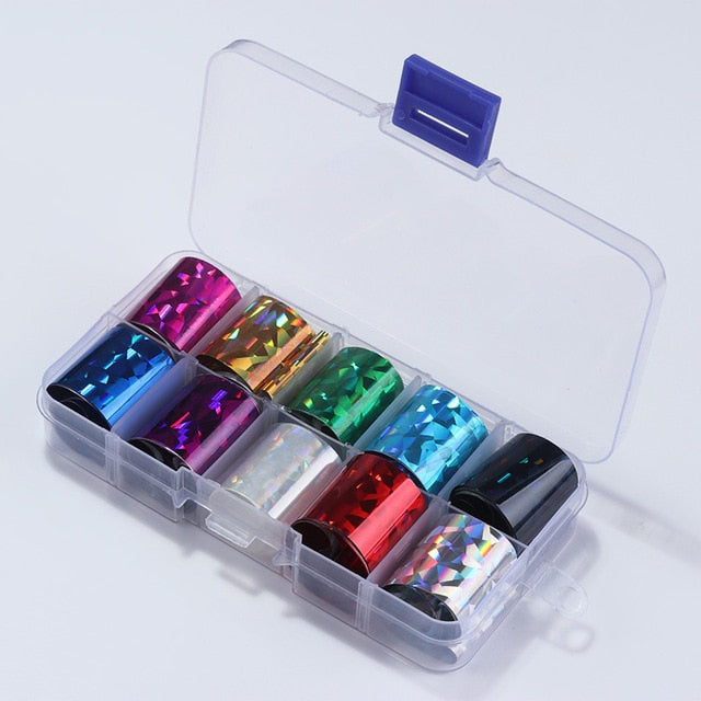1 Box Holographic Nail Foil Set Transparent AB Color Starry Sky Transfer Sticker 2.5*100cm Manicure Nail Art Decals