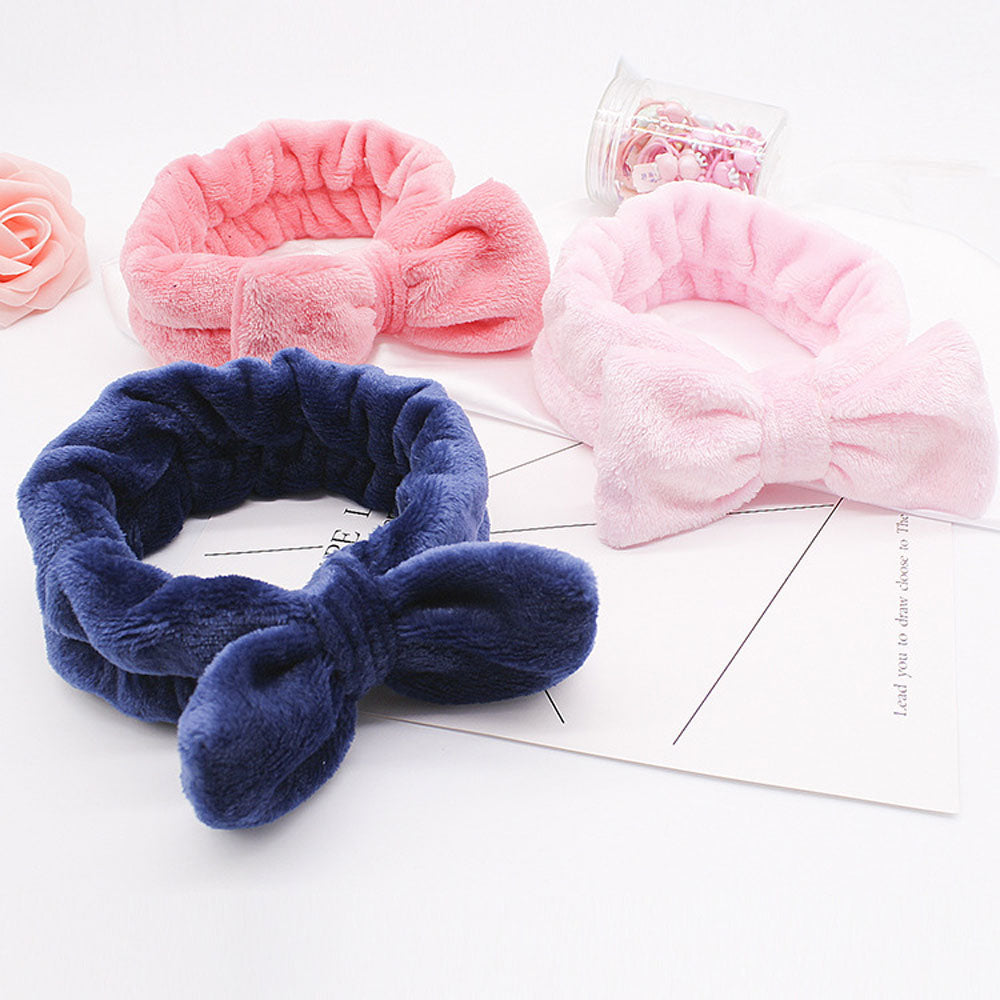 Coral Fleece Hairbow Cross Headband For Wash Face Makeup Lady Bath Mask Cosmetic Hairband Elastic Soft Turban Hair Accessories