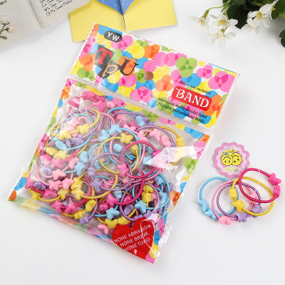 50pcs/Lot Girls Hair Accessories Cute Love Star Candy Elastic Hair Bands Kids Ponytail Holder Rubber Bands Headbands Scrunchie
