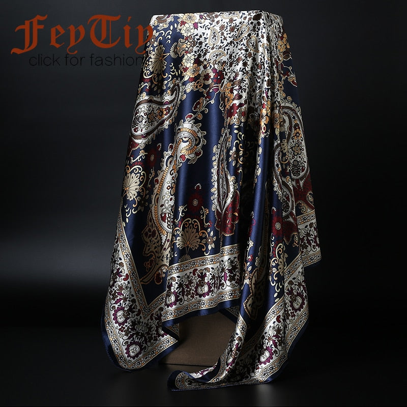 Fashion Scarves for Women Print Satin Silk Scarf Female 90x90cm Square Shawl Bandana for Head Large Hijab Scarfs For Ladies 2019