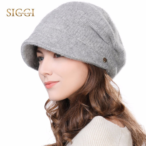 FANCET Winter Newsboy Caps For Women Solid Wool Acrylic Visor Beanies Cap Berets Warm Fleece Fashion Cold Weather Hats 99139