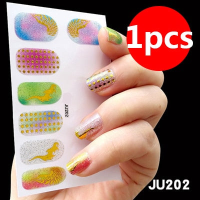 108pcs/sheet 3D Nail Art Stickers Water Transfer Decals Metallic Flowers Nail Foil Art Sticker Nail Decoration Accessory Tools