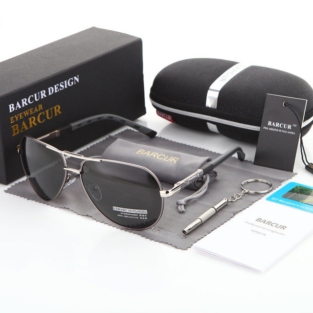 BARCUR Aluminum Magnesium Men's Sunglasses Polarized Men Coating Mirror Glasses oculos Male Eyewear Accessories For Men