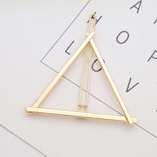Fashion hair Accessories Triangle Moon HairPins Geometric Hair Clip pins For Women girl Barrettes Circle Hairband Metal Hairgrip
