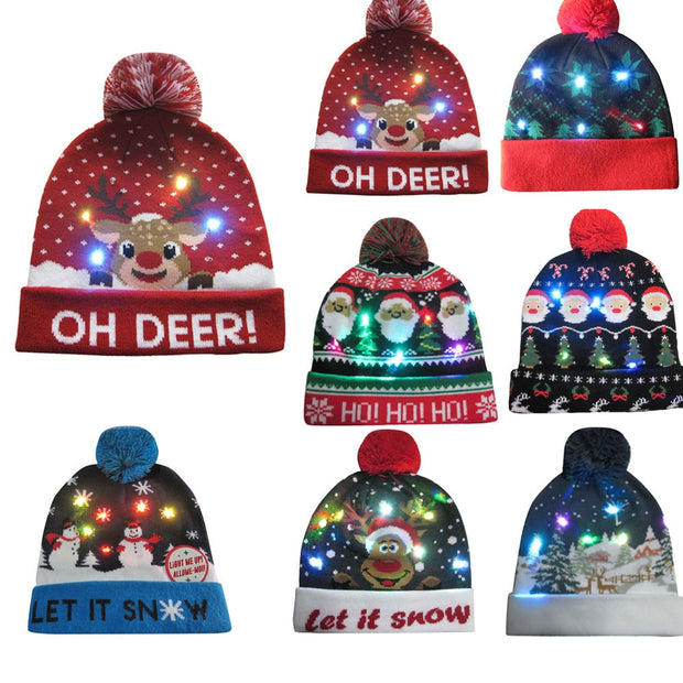 2018 Women's Novelty LED Light-up Knitted Beanies Hat Boys Ugly Sweater Holiday Xmas Christmas Hats For Men Girls Led Light Cap