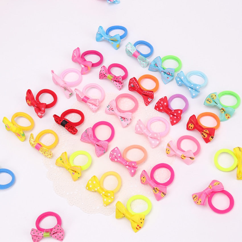 10PCS Colorful Child Kids Hair Holders Cute Bow Rubber Hair Band Elastics Hair Accessories Girl Charms Tie Gum