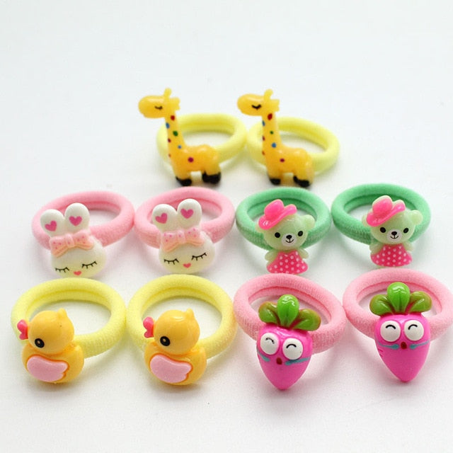 10PCS/Lot Fashion Elastic Hair Bands Headbands Soft Fabric Cartoon Girls hair cilp kids Hair accessories gum for hair