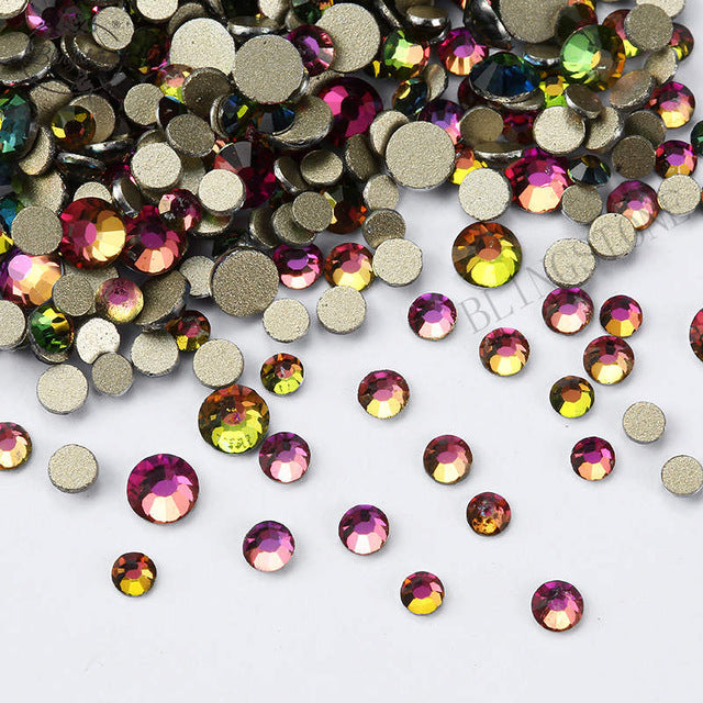 1/Pack Gold Flatback AB Glass Nail Rhinestones Mixed Sizes Nail Art Decoration Stones Shiny Gems Manicure Accessories 073