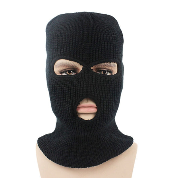 New Full Face Cover Mask Three 3 Hole Balaclava Knit Hat Winter Stretch Snow Beanies Windproof Ski Caps Black Warm Face Masks