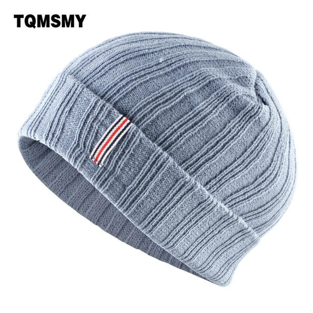 TQMSMY Solid color Beanies men Knitting wool hat Thick warm bonnet skullies winter hats for women gorros stripe hip-hop cap