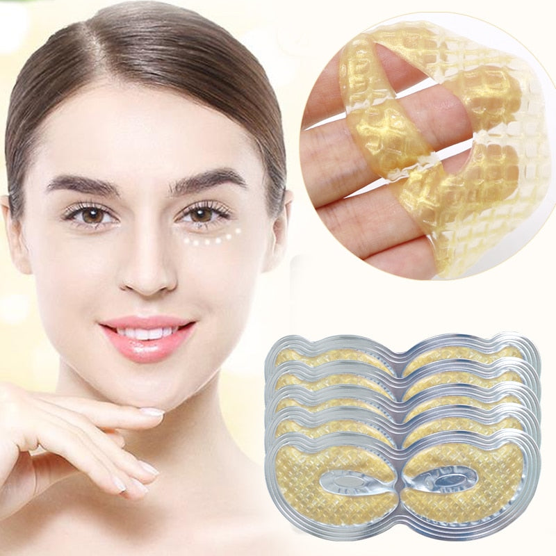 EFERO 3pair=6pcs 24K Gold Eye Mask Collagen Eye Patches for the Eyes Care Dark Circle Puffiness Face Masks Anti-Aging Wrinkle