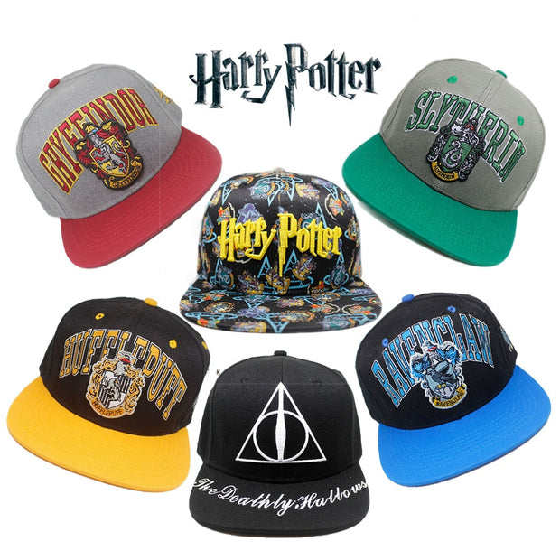 Harri Potter Hogwarts School Set Hat Cotton Baseball Snapback Caps Adjustable Hip Hop Hats For Adult Boys Girls Cosplay Gift
