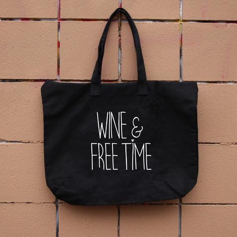 Wine & Free Time Zippered Tote