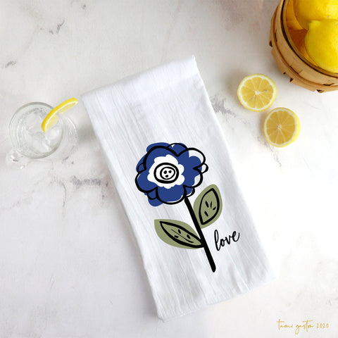 Blue Flower Tea Towel