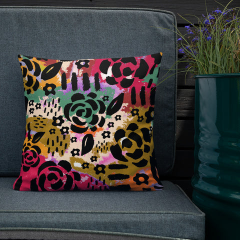 Jungle Flower Print Pillow